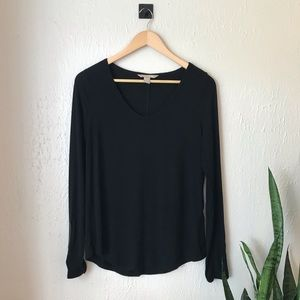 Banana Republic Top With Faux Leather Sleeve